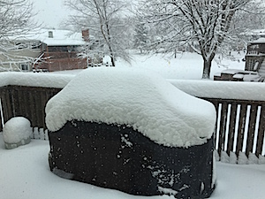 It's snow-covered patio furniture time!